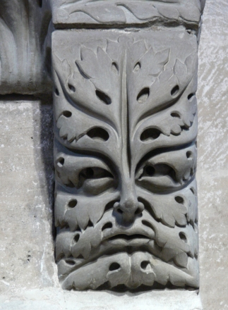 The famous Bamberg Green Man (c. 13th Century) in the shape of an acanthus leaf, Bamberg Cathedral, Germany