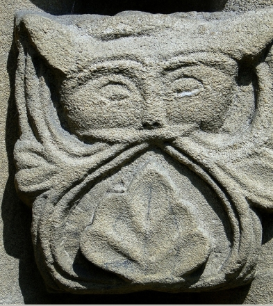 Green Beasts are also common in churches, like this (cat? owl?) in St. Mary's Church, Iffley, Oxfordshire, England (photo Rex Harris)