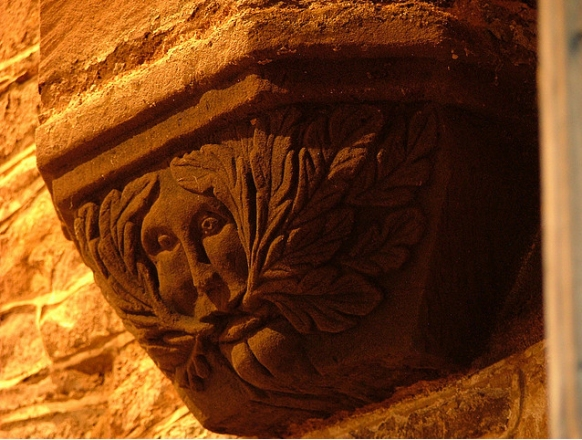 One of the three famous Green Men in St. Jerome's Church, Llangwm, Gwent, South Wales, which first interested Lady Raglan (photo John Harding)