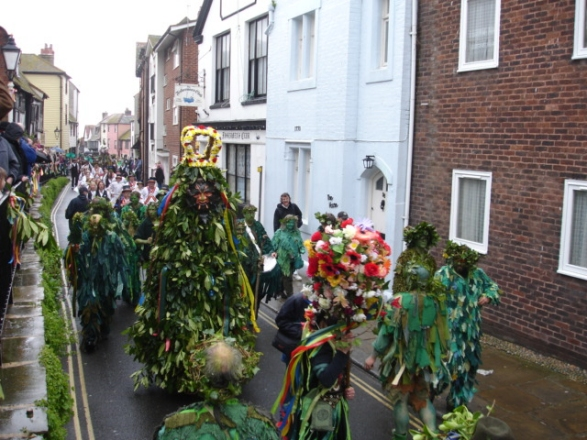 Jack-in-the-Green and other Green Men in the May Day Parade in Hastings, Sussex, England